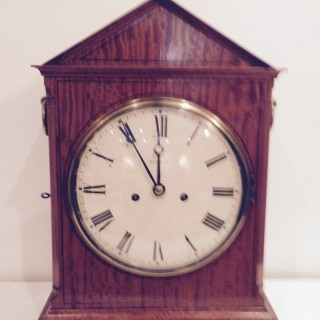 Satinwood Bracket clock by Leach of Romsey.