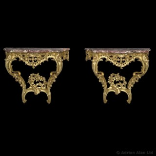 Pair of Louis XV Style Giltwood Consoles