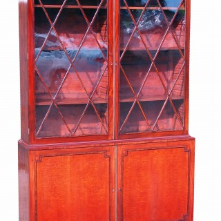 Antique Regency Satinwood & Mahogany Library Bookcase