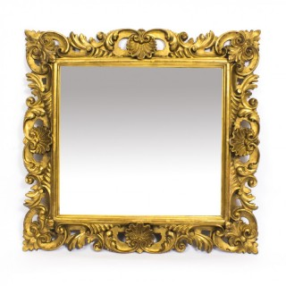 Antique Italian Florentine Giltwood Mirror 19th C 67x64cm