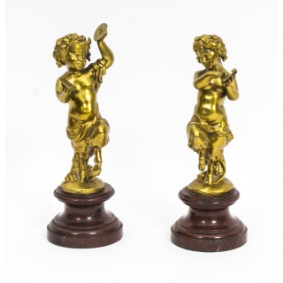 Antique Pair of French Gilt Bronze Child Satyrs C1870