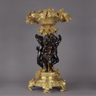 Napoléon III Gilt and Patinated Bronze Table Centrepiece