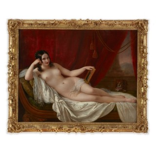 Large antique oil painting of Fanny Elssler as the goddess Venus, by Schiavoni