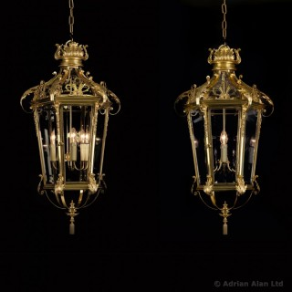 Pair of Louis XVI Style Gilt-Bronze Lanterns