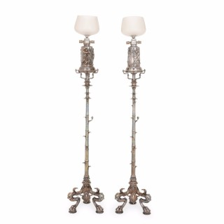 Pair of silvered bronze French antique floor lamps attributed to Barbedienne