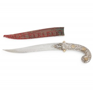 19th Century Indian Koftgari decorated steel antique dagger