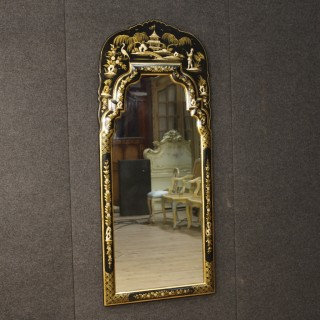 20th Century Lacquered And Gilt Chinoiserie Mirror