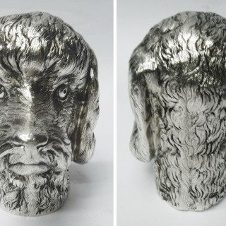 Vintage Tiffany Silver Dog Head Table Lighter