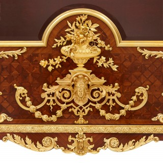 Gilt bronze mounted mahogany, kingwood, marquetry and parquetry French vitrine