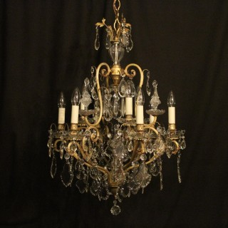 French Gilded Birdcage Crystal 10 Light Antique Chandelier