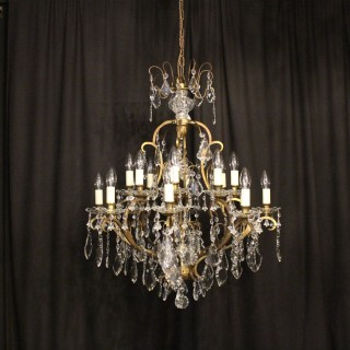French 16 Light Antique Cage Chandelier