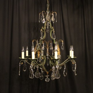 French Toleware 8 Light Antique Chandelier