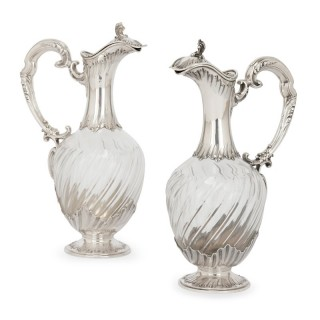 Pair of silver and crystal antique claret jugs by Soufflot