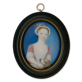 Portrait miniature of Catherine Beresford (b.c.1725), wearing a red dress decorated with lace and a lace-edged red cap worn with flowers, a dog at her side