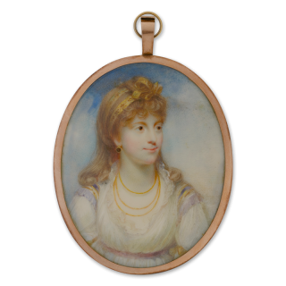 Portrait miniature of Frederica, Duchess of York (1767-1820), wearing a white dress with lace collar and violet waistband, the shoulders edged with gold, blue and violet fabric, her hair decorated with two gold ribbons tied in a bow at the top