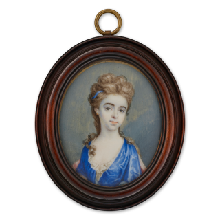 Portrait miniature of a Young Girl wearing a blue dress and blue hair sash