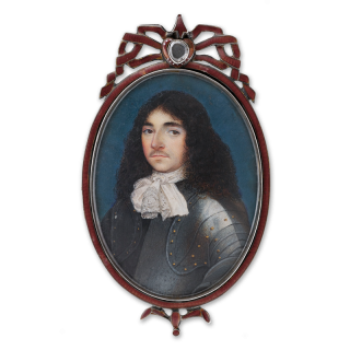 Portrait miniature of an Officer in armour with black hair and white cravat