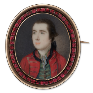 Portrait miniature of a Gentleman, wearing a red coat