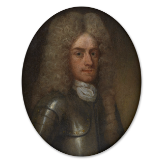 Portrait miniature of Gentleman, wearing silver-gilt armour and white cloth cravat, his wig powdered and worn with a knot over his shoulder