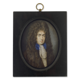 Portrait miniature of a Courtier, wearing a white cravat and blue bow tie