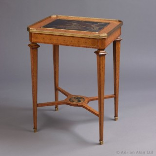 Marquetry Inlaid Table with a Lacquer Top