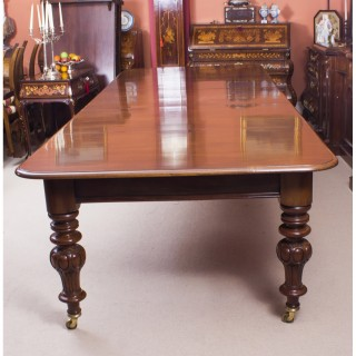 Antique Victorian 12 ft Flame Mahogany Dining Table & 14 chairs c.1860