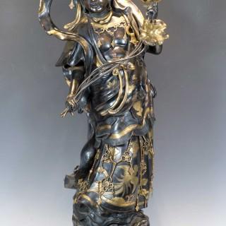 LARGE JAPANESE BUDDHISTIC BRONZE FIGURE OF KANNON BODHISATTVA