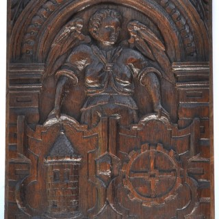 Carved oak Angel with two Shields