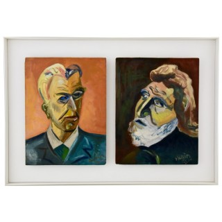 Painting, two male portraits.