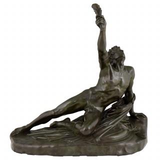 Soldier of Marathon, antique bronze sculpture man with laurel branch