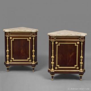 Louis XVI Style Gilt-Bronze Mounted Mahogany Corner Cabinets