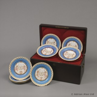 Decorative Set of Twelve Sèvres Azur blue Plates