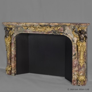 Louis XV Style Patinated Bronze Mounted Marble Fireplace