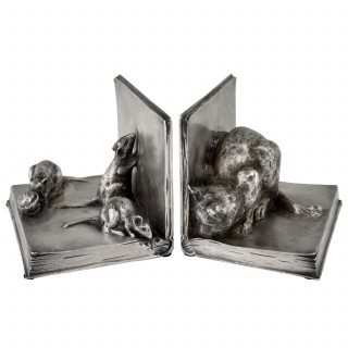 French  Art Deco bronze bookends, cat and mice on books.