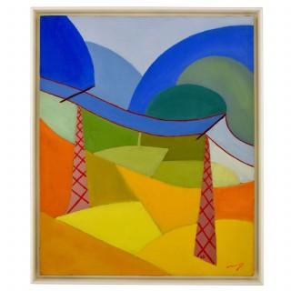 Painting, colorful landscape.