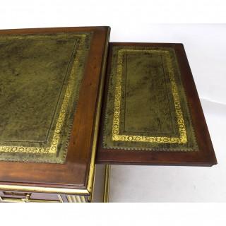 Antique Empire Revival Mahogany & Brass Set Pedestal Desk C1880