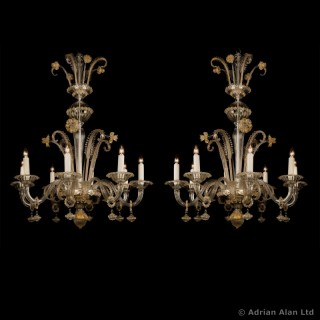 Pair of Venetian Clear Glass and Gilt Decorated Chandeliers