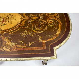 Antique French Ormolu Mounted Marquetry Bureau Plat c.1860