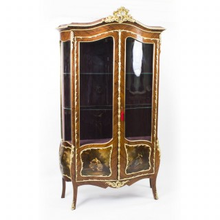 Antique French Kingwood Vernis Martin Display Cabinet c1880