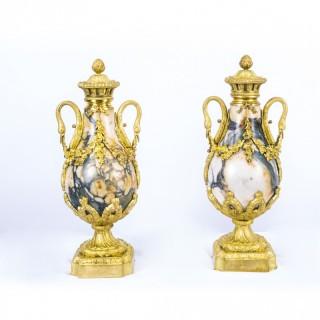 Antique Pair Louis XV French Carrara Marble Urns c.1870