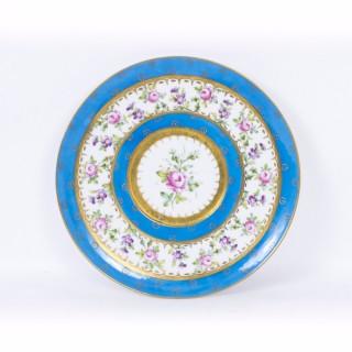 Antique Sevres Porcelain Celeste Bleu Plate c.1880