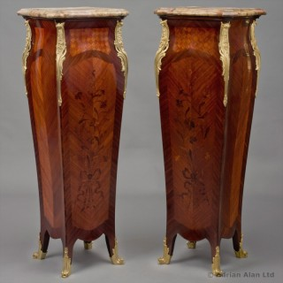 Pair Of Louis XV Style Gilt-Bronze Mounted Marquetry Inlaid Pedestals