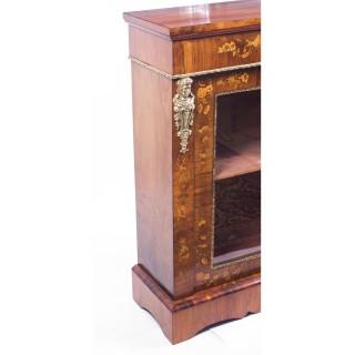 Antique Pair Burr Walnut Marquetry Pier Cabinets c.1870