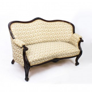 Antique Victorian Mahogany Two Seater Settee Sofa c.1870