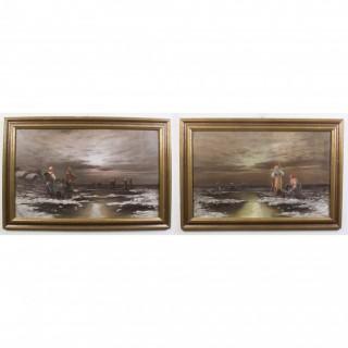 Antique Pair Paintings 'Sea View of Britanny' L Biro c.1920