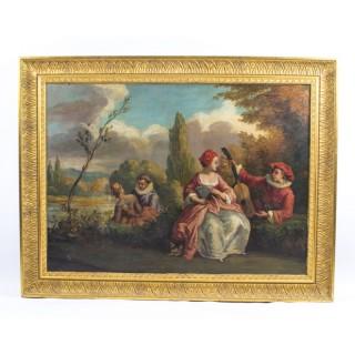 Antique Oil Painting Riverside Conversations c.1920