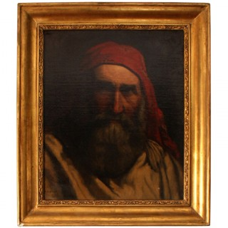 Antique Painting 'Old Fisherman' A H Cabuzel c.1880
