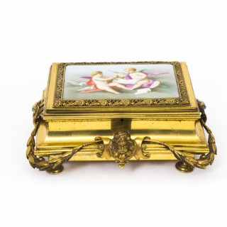 Antique French Ormolu & Painted Porcelain Casket C1870