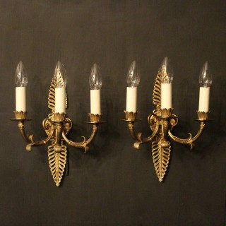French Pair Of Empire Bronze Wall Lights