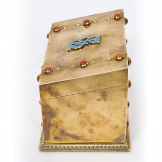 Antique French Brass & Coral Cabochon Stationery Casket C1860.